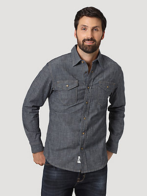 Men's Denim Long Sleeve Snap Shirt