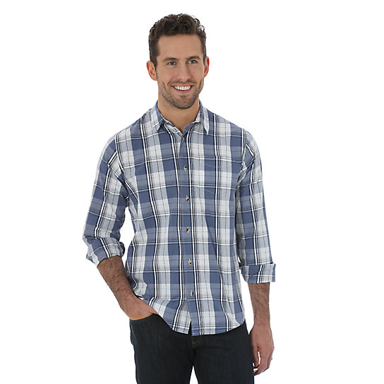 Wrangler Jeans Co.® Long Sleeve Woven Plaid Shirt - Bright White (Big Sizes)