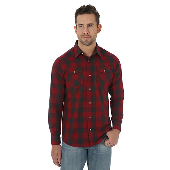 Wrangler Jeans Co.® Long Sleeve Woven Plaid Shirt - Biking Red  (Big Sizes)