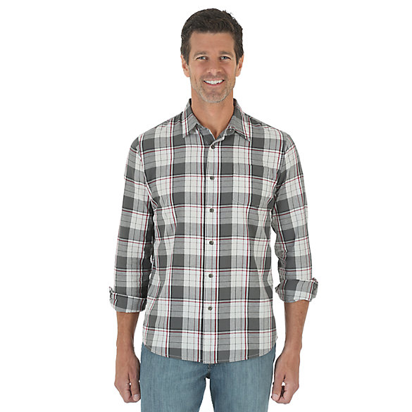 Wrangler Jeans Co.® Long Sleeve Woven Plaid Shirt - Pavement B
