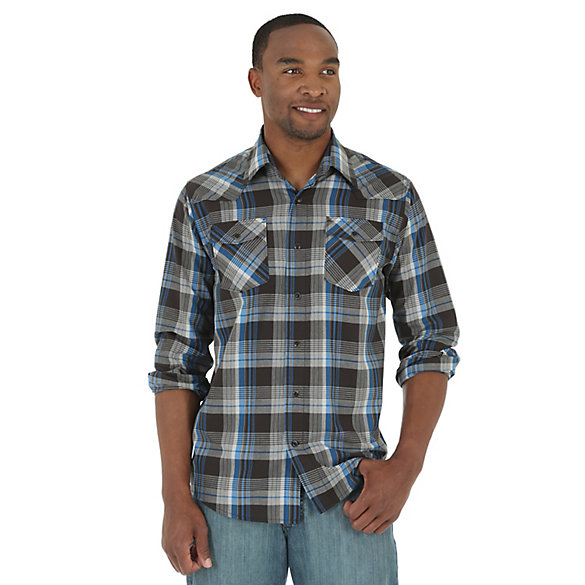Wrangler Jeans Co.® Long Sleeve Button Down Plaid Shirt (Big Sizes)