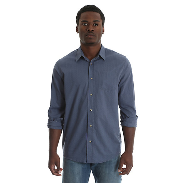 Men's Long Sleeve Button Down One Pocket Solid Slub Shirt