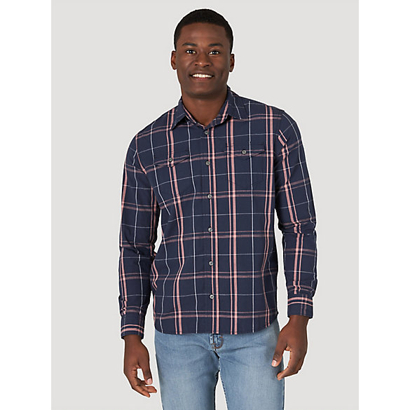 Men's Plaid Long Sleeve Button-Up Shirt