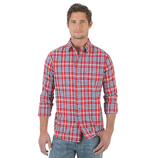 Wrangler Jeans Co.® Long Sleeve Plaid Shirt - Bossa Nova (Big Sizes)