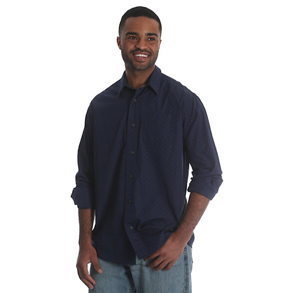 Men's Long Sleeve Button Down One Pocket Print Shirt