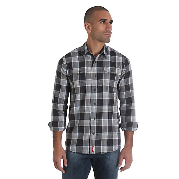 Men's Long Sleeve Button Down Two Flap Pocket Plaid Shirt