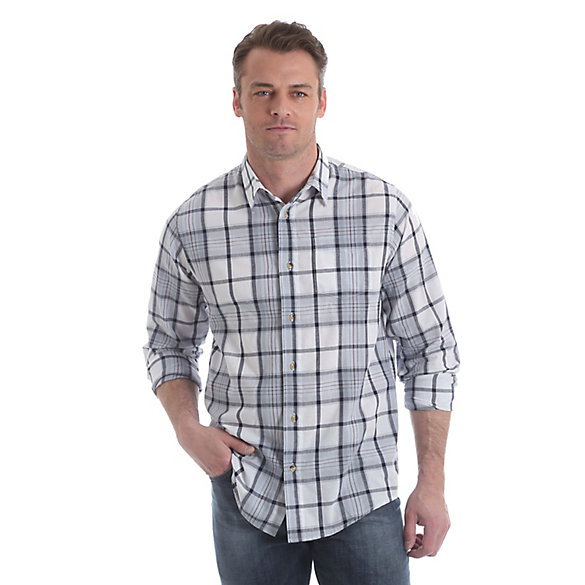 Men's Long Sleeve Button Down Single Pocket Plaid Shirt