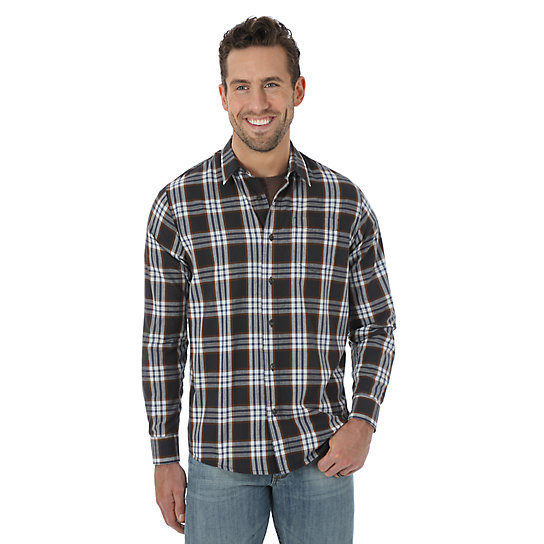 Wrangler Jeans Co.® Long Sleeve Woven Plaid Shirt - Phantom B