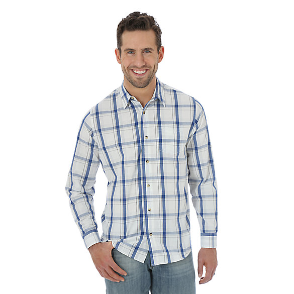 Wrangler Jeans Co.® Long Sleeve Woven Plaid Shirt - Vaporous Gray