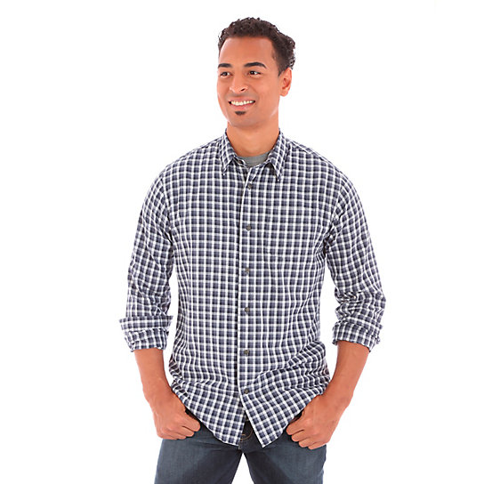 Men's Wrangler Jeans Co.® Button Down One Pocket Plaid Long Sleeve (Big Sizes)