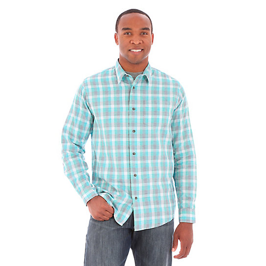 Men's Wrangler Jeans Co.® Button Down Long Sleeve One Spade Pocket Plaid Shirt (Big Sizes)