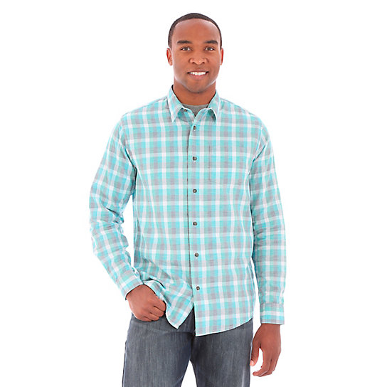 Men's Wrangler Jeans Co.® Button Down Long Sleeve One Spade Pocket Plaid Shirt