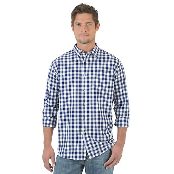 Wrangler Jeans Co.® Long Sleeve Plaid Shirt - Blue Depths (Big Sizes)