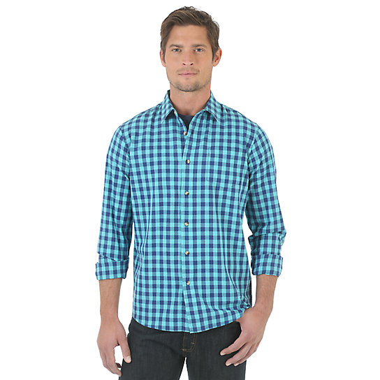 Wrangler Jeans Co.® Long Sleeve Plaid Shirt - Limoges (Big Sizes)