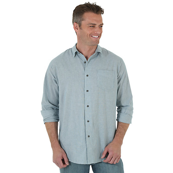 Wrangler Jeans Co.® Long Sleeve Striped Shirt - Blue Coral (Big Sizes)