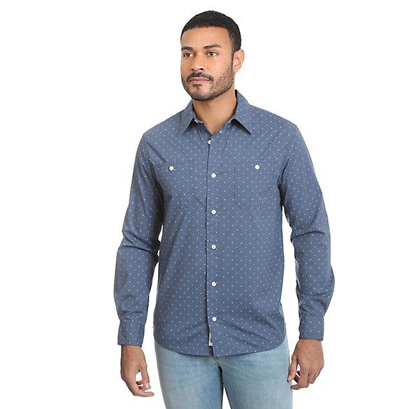 0c0062e6174b Men's Long Sleeve Button Down Two Pocket Printed Slub Shirt | Mens ...