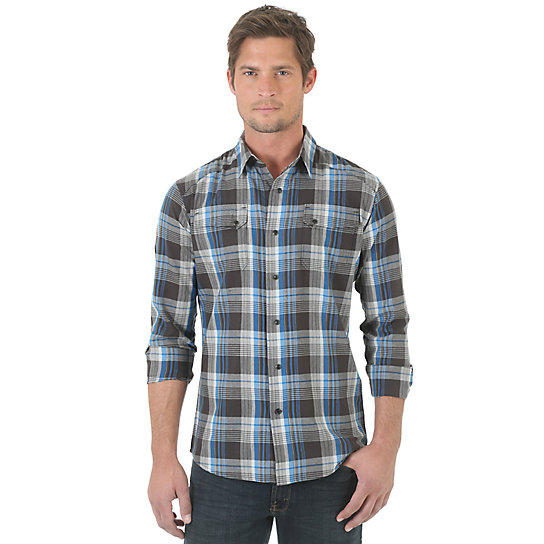 Wrangler® RED Long Sleeve Plaid Shirt - Phantom