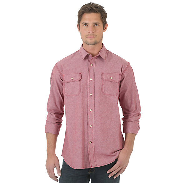Wrangler® RED Long Sleeve Solid Shirt - Rhubarb