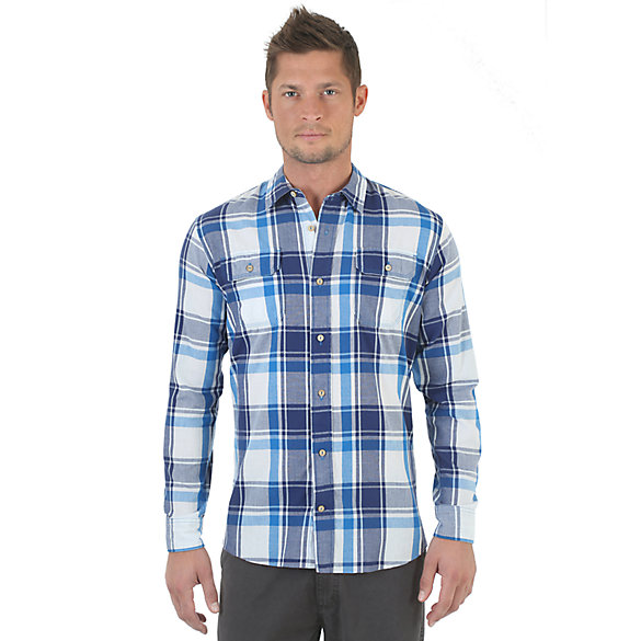 Wrangler® RED Long Sleeve Plaid Shirt - Bright White