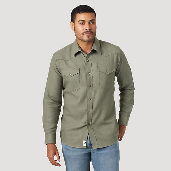 Men's Wrangler® Western Snap Long Sleeve Flannel Shirt