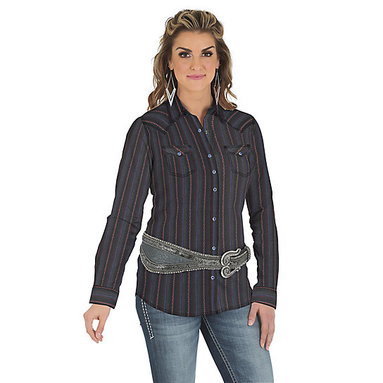 Rock 47® by Wrangler® Long Sleeve One Point Front and Back Yoke Striped Top - Black/Pink/Royal