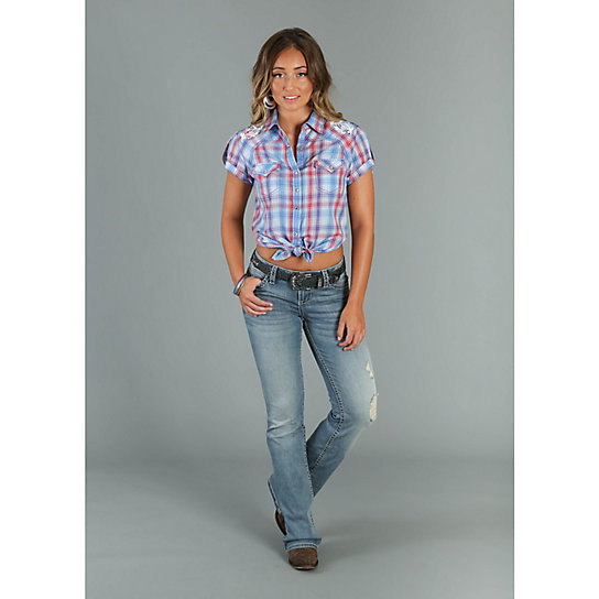 Women's Rock 47® by Wrangler® Short Tab Sleeve Plaid Top