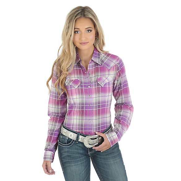 Rock 47® by Wrangler® Long Sleeves with One Point Front and Back Yokes Plaid Top - Purple/Pink