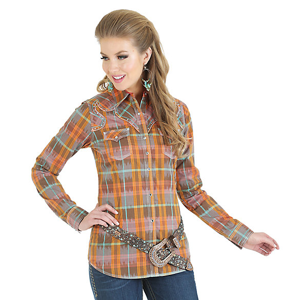 Rock 47® by Wrangler® Long Sleeve Fancy Front and Back Yoke with Heavy Stitching and Stones Plaid Shirt - Coral/Brown