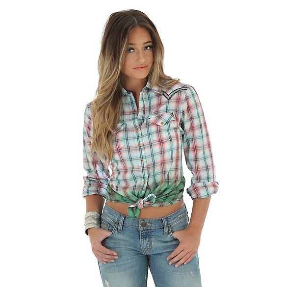 Women's Rock 47® by Wrangler® Long Sleeve with One Point Front and Back Yokes Plaid Top