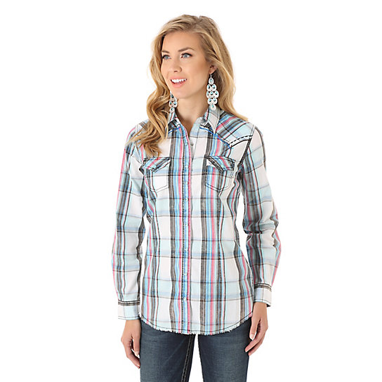 Women's Rock 47® by Wrangler® Long Sleeve Embroidered Front and Back Yokes Plaid Top