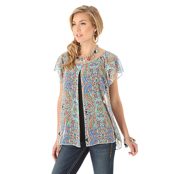 Women's Rock 47® by Wrangler® Short Sleeve Ruffle Flyaway Printed Top