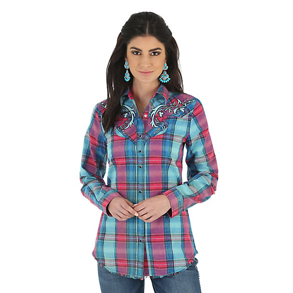 Women's Rock 47® by Wrangler® Long Sleeve Embroidered Fancy Front and Back Yokes Plaid Top