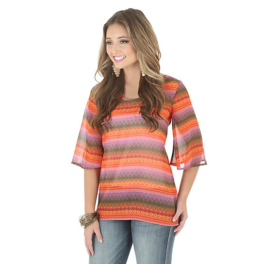 Rock 47® By Wrangler® Flutter Sleeve Top with Cut Out Back Printed - Orange/Purple/Brown
