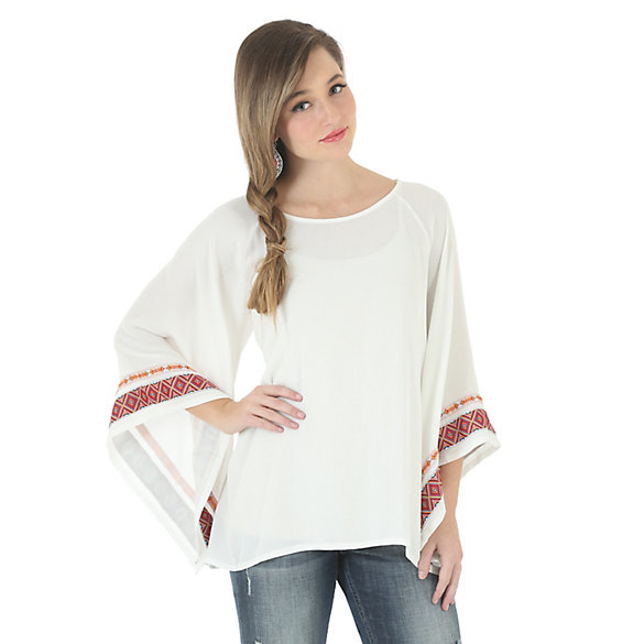 Rock 47® By Wrangler® Long Pagoda Sleeve Solid Top with Decorative Stitching - Vanilla Ice