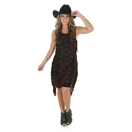 Rock 47® by Wrangler® Sleeveless Dress with Fringe and Studs