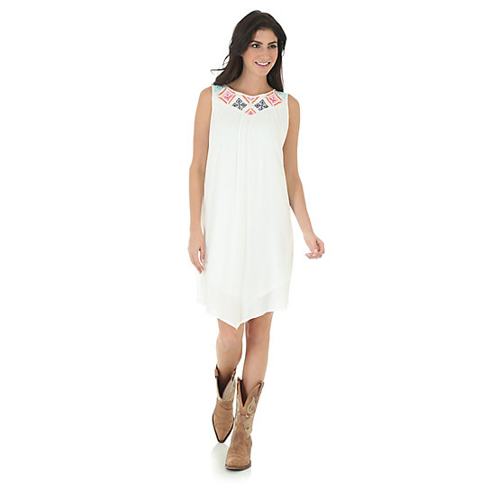 Women's Rock 47® by Wrangler® Sleeveless Dress with Embroidered Neckline