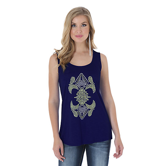 Rock 47® by Wrangler® Sleeveless Top with Full Beaded Center Front Design - Navy
