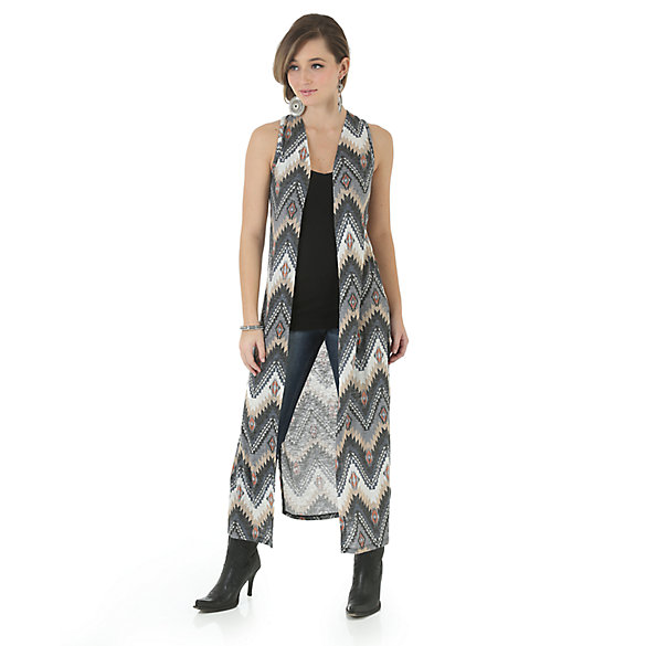 Rock 47® by Wrangler® Sleeveless Printed Duster with Crochet Back