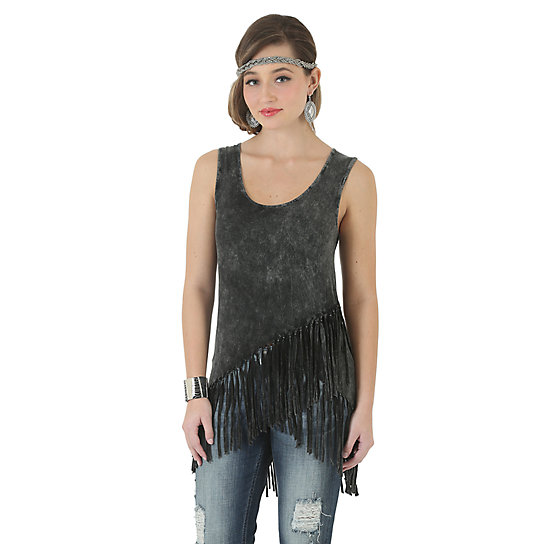 Rock 47® by Wrangler® Sleeveless Solid Top with Asymmetrical Fringe Hem