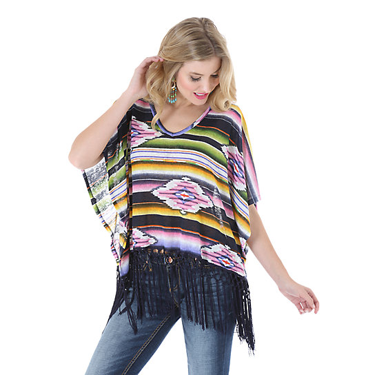 Rock 47® by Wrangler® V Neck Printed Top with Kimono Style Sleeves