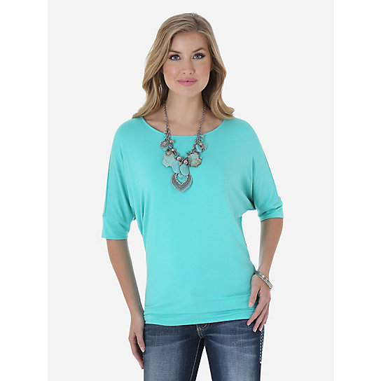 Wrangler® Western Fashion Dolman Sleeve Solid Tunic with Scoop Neck