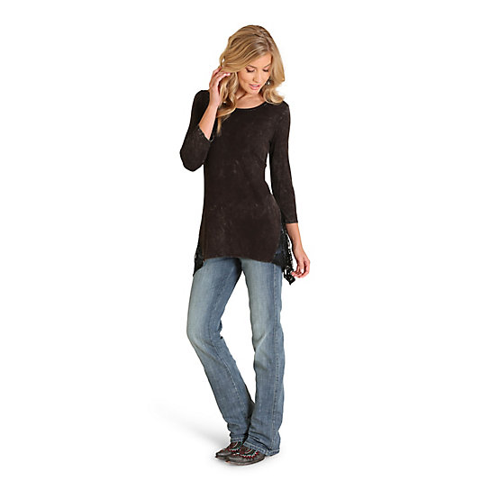 Women's Three-Quarter Length Sleeve Solid Lace Inset Tunic