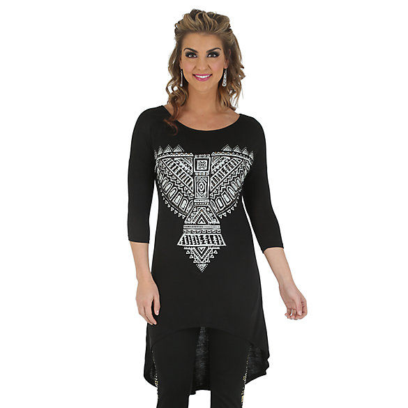 Rock 47® by Wrangler® Long Sleeve Tunic with Screenprint - Black