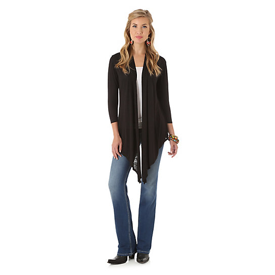 Women's Rock 47® by Wrangler® Three Quarter Length Sleeve with Scarf Like Front Solid Cardigan