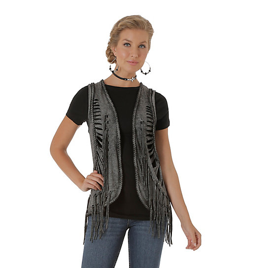 Women's Rock 47® by Wrangler® Braiding at Front and Back Solid Vest