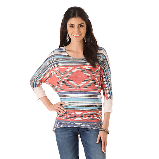 Women's Rock 47® by Wrangler® Three Quarter Length Sleeve Sweater Knit with Print Top