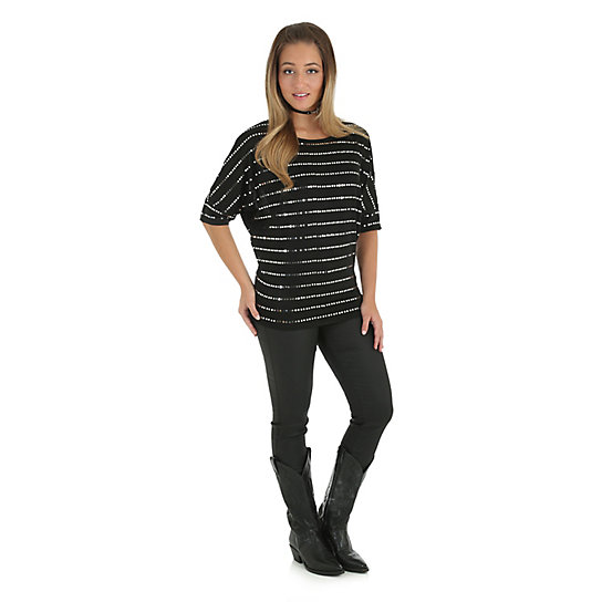 Women's Rock 47® by Wrangler® Dolman Sleeves with Chevron Sequins Top