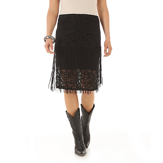 Rock 47® by Wrangler® Crochet and Fringe Skirt