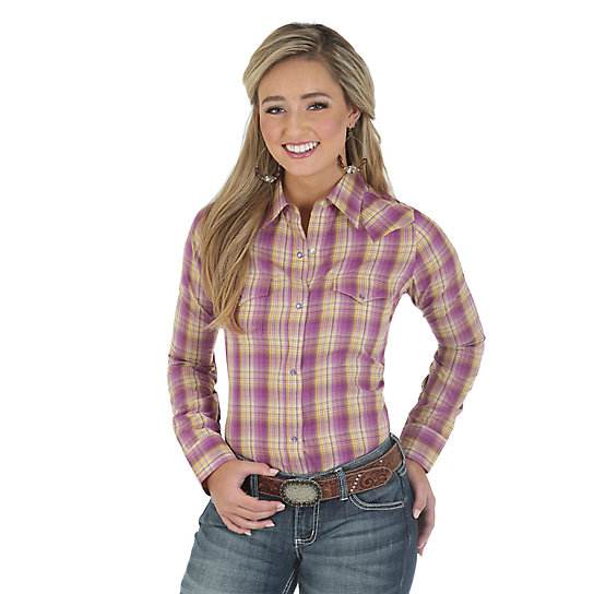 As Real As Wrangler® Long Sleeve One Point Front and Back Yokes Plaid Top - Orchid/Yellow Plaid