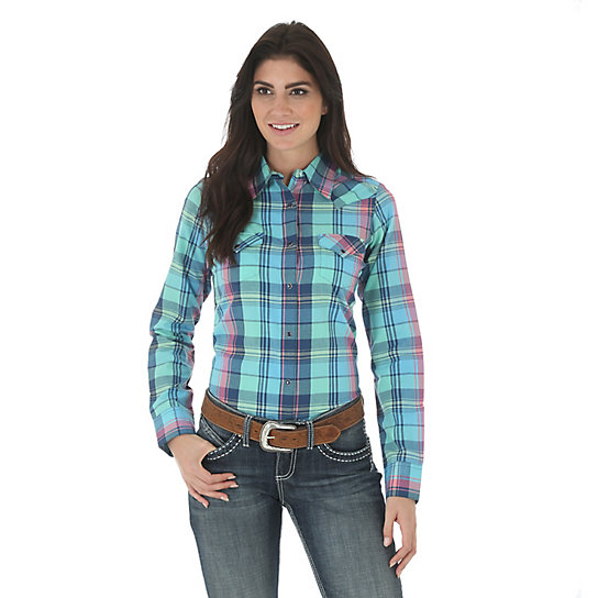 Women's As Real As Wrangler® Long Sleeve Biased Yokes Plaid Top